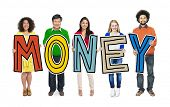 picture of holding money  - Group of People Standing Holding Money - JPG