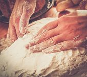 image of pastry chef  - Cook hands preparing dough for homemade pastry - JPG