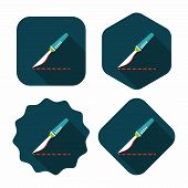 picture of scalpel  - Scalpel Cut Flat Icon With Long Shadow - JPG