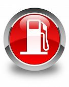 stock photo of dispenser  - Fuel dispenser icon glossy red round button - JPG