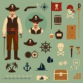 foto of treasure map  - vector set of pirate icons - JPG