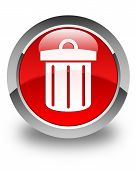 stock photo of dust-bin  - Recycle bin icon glossy red round button - JPG