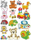 stock photo of toy phone  - Set of funny vector toys on a white background - JPG