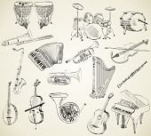 stock photo of clarinet  - hand drawn set of classical musical instruments - JPG