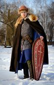 pic of reconstruction  - young man historical reconstruction warrior of ancient Russia - JPG
