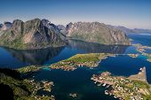 stock photo of reining  - Beautiful aerial view of town Reine and surrounding fjords on Lofoten islands - JPG