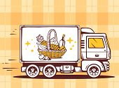 image of food truck  - illustration of truck free and fast delivering basket with food to customer on pattern background - JPG