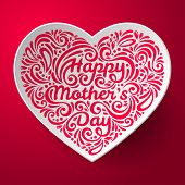 foto of happy day  - Mothers Day background with three dimensional heart shape - JPG