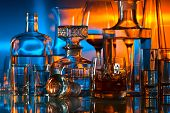 image of alcoholic drinks  - alcoholic drinks in bar on glass table - JPG