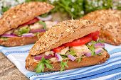 stock photo of tomato sandwich  - Tuna sandwich with green salad frieze blue sweet onion cream cheese and tomatoes - JPG