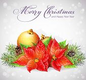 foto of christmas flower  - Greeting card with Christmas and New Year tree with branches and flower Christmas - JPG