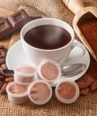 image of bean-pod  - Cup of hot chocolate with pods cocoa powder cocoa beans and pieces of chocolate - JPG