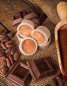 picture of cocoa beans  - Capsules of chocolate with cocoa powder cocoa beans and pieces of chocolate - JPG