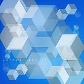 foto of cube  - Vector Abstract geometric shape from gray cubes - JPG