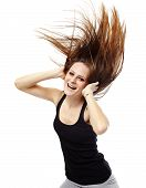 pic of hair motion  - Young woman dancing with her long hair fluttering in motion isolated on white - JPG