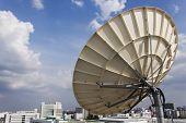 stock photo of telecommunications equipment  - Satellite Dish for Telecommunications on blue sky background - JPG