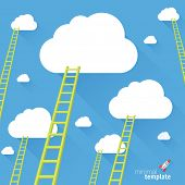 pic of reach the stars  - Ladder to the sky. Vector minimalist design competition concept.  - JPG