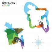 image of bangladesh  - Abstract vector color map of Bangladesh with transparent paint effect - JPG