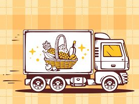 picture of food truck  - illustration of truck free and fast delivering basket with food to customer on pattern background - JPG