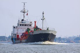 stock photo of fuel tanker  - gas lpg container tanker ship running in river use for petrochemical gas energy in water transportation industry - JPG