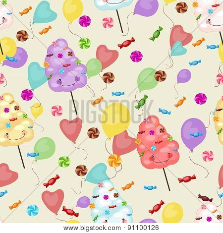 Seamless Pattern Of Sweets, Cotton Candy, Lollipops, Balloons.
