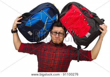 Young man with bags isolated on white