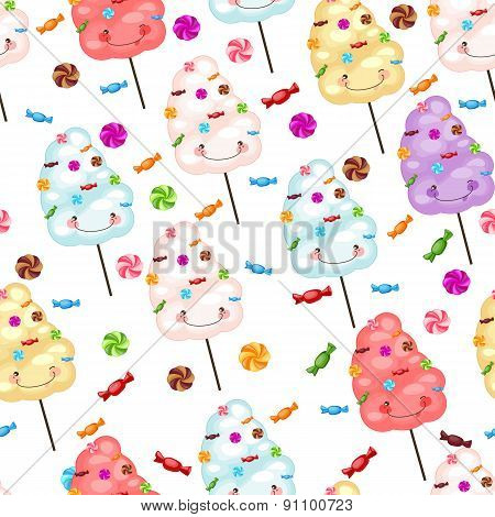 Childrens Seamless Pattern Funny Cotton Candy And Candy.