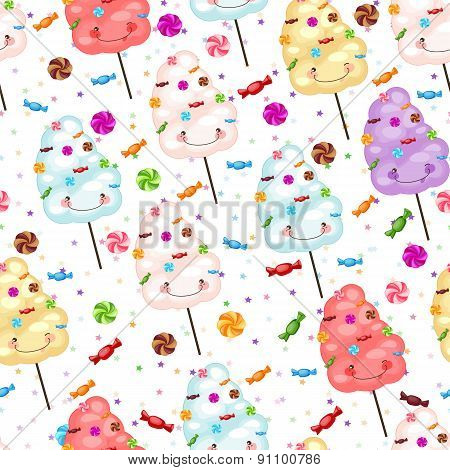 Childrens Seamless Pattern Of Funny Cotton Candy, Candy