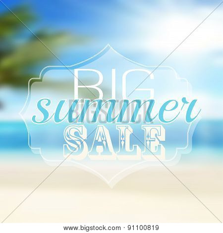 Advertisement About The Summer Sale On Defocused Background With Beautiful Tropical Sea Beach View.