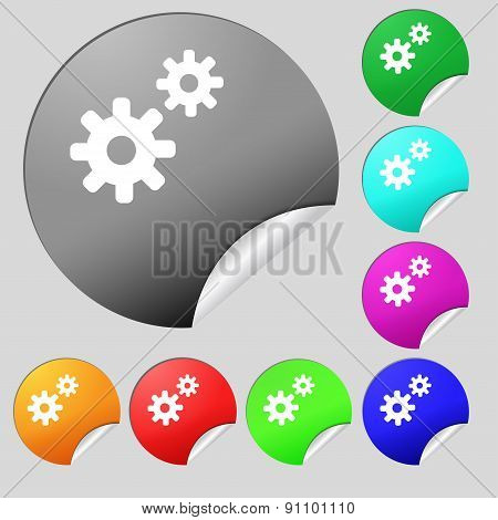 Cog Settings,  Cogwheel Gear Mechanism  Icon Sign. Set Of Eight Multi-colored Round Buttons, Sticker