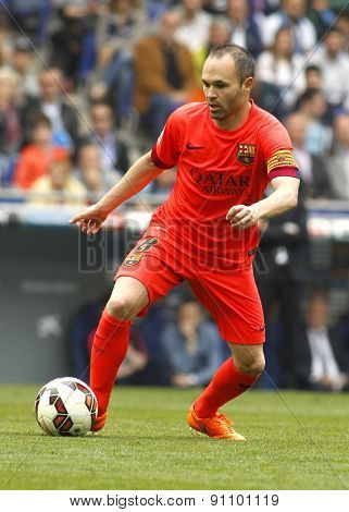 BARCELONA - APRIL, 25: Andres Iniesta of FC Barcelona during a Spanish League match against RCD Espanyol at the Power8 stadium on April 25, 2015 in Barcelona, Spain