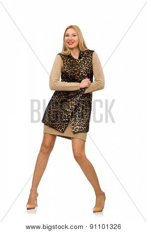 Pretty young woman in leopard vest isolated on white