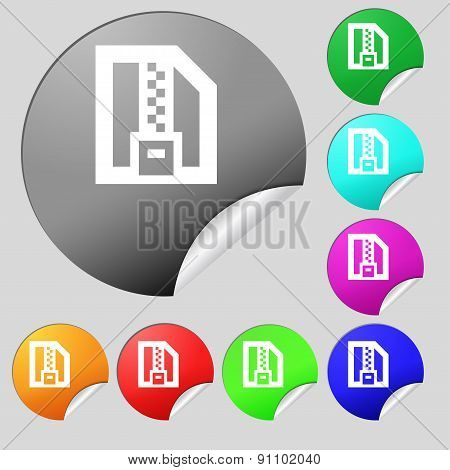 Archive File, Download Compressed, Zip Zipped  Icon Sign. Set Of Eight Multi-colored Round Buttons,