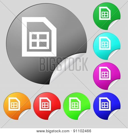 File Document  Icon Sign. Set Of Eight Multi-colored Round Buttons, Stickers. Vector