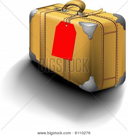 Traveled Suitcase With Travel Sticker