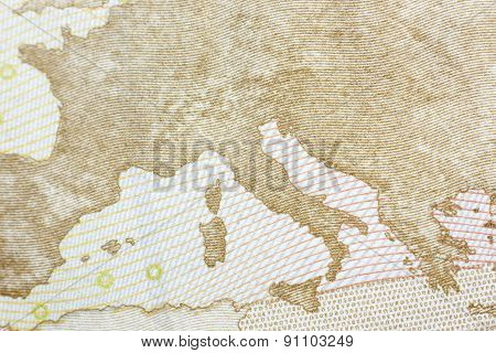 Rear Site Of A 50 Euro Banknote
