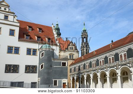View Of Stables Courtyard Toward George Gate, Dresden, Saxony, Germany.
