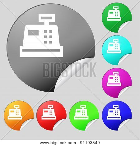 Cash Register  Icon Sign. Set Of Eight Multi-colored Round Buttons, Stickers. Vector