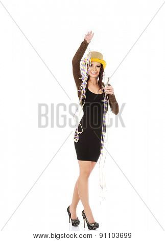 Woman in party dress celebrate New Year.
