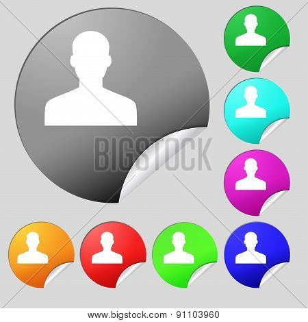 User, Person, Log In  Icon Sign. Set Of Eight Multi-colored Round Buttons, Stickers. Vector