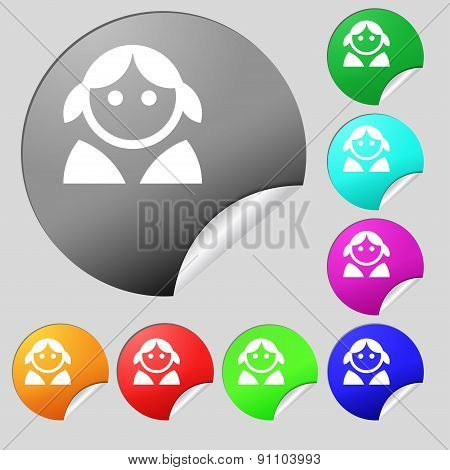 Female, Woman Human, Women Toilet, User, Login  Icon Sign. Set Of Eight Multi-colored Round Buttons,