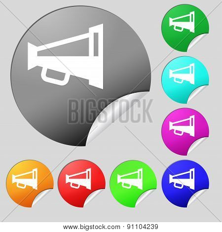 Megaphone Soon, Loudspeaker  Icon Sign. Set Of Eight Multi-colored Round Buttons, Stickers. Vector