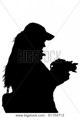 Silhouette girls with a camera on white background