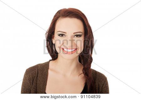 Portrait of a woman in ocassional make up.