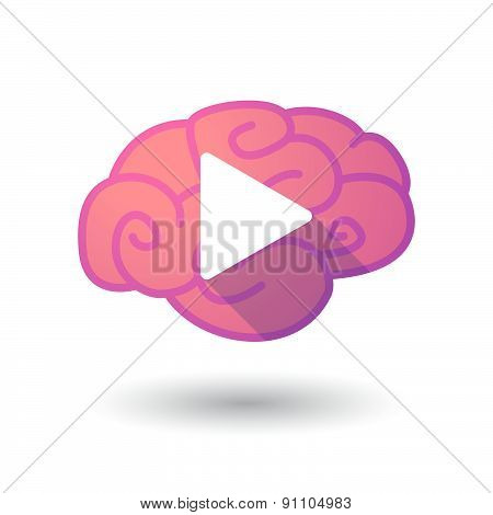 Brain Icon With A Play Sign