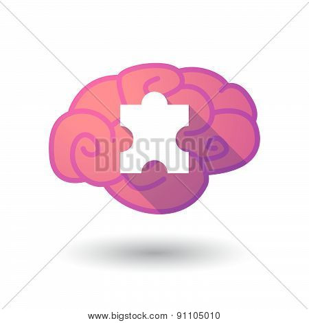 Brain Icon With A Puzzle Piece