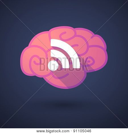 Brain Icon With A Rss Feed Sign