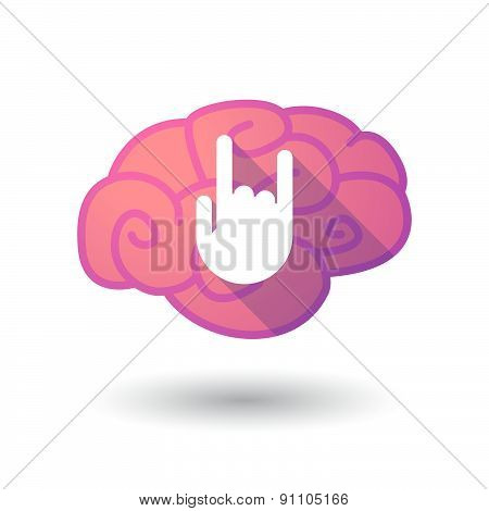 Brain Icon With A Rocking Hand