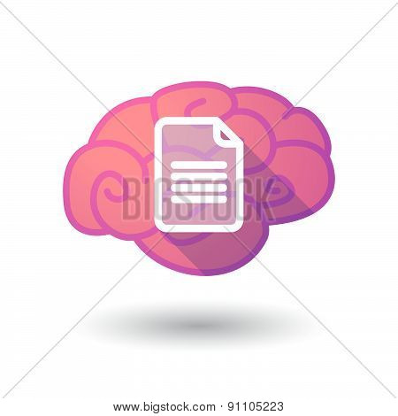 Brain Icon With A Document