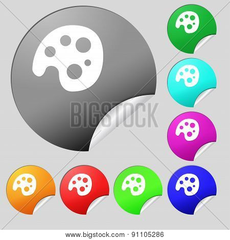 Palette  Icon Sign. Set Of Eight Multi-colored Round Buttons, Stickers. Vector